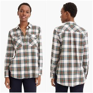 J. CREW Stewart Plaid Boyfriend Shirt Button Down
